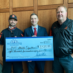 FIRST COMMUNITY BANK MAKES DONATION TO BHS ATHLETIC DEPT.