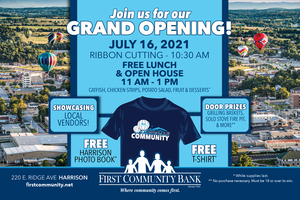 FIRST COMMUNITY BANK TO HOST GRAND OPENING CELEBRATION